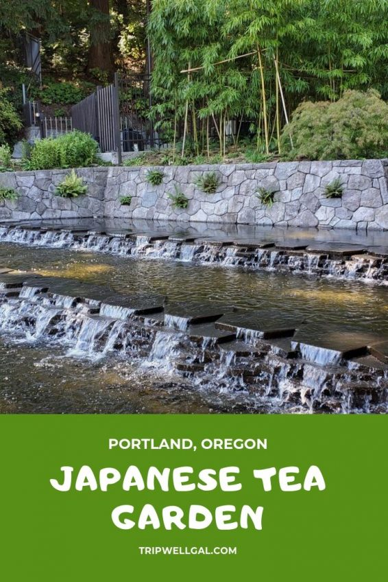 Japanese Tea Garden Entrance and waterfall in Portland, Oregon