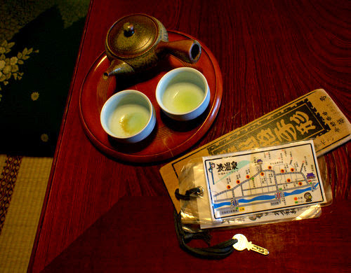 Enjoying tea in a traditonal Japanese inn.