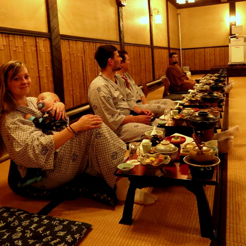 A traditional Ryokan meal with family