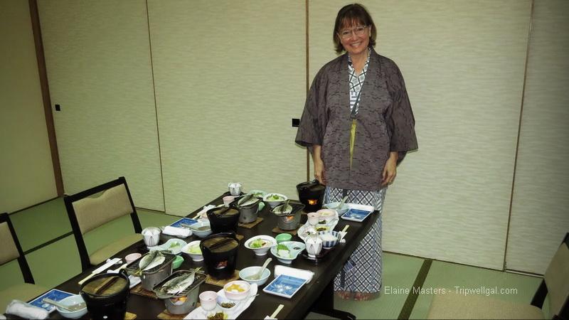 Elaine at a Ryokan breakfast