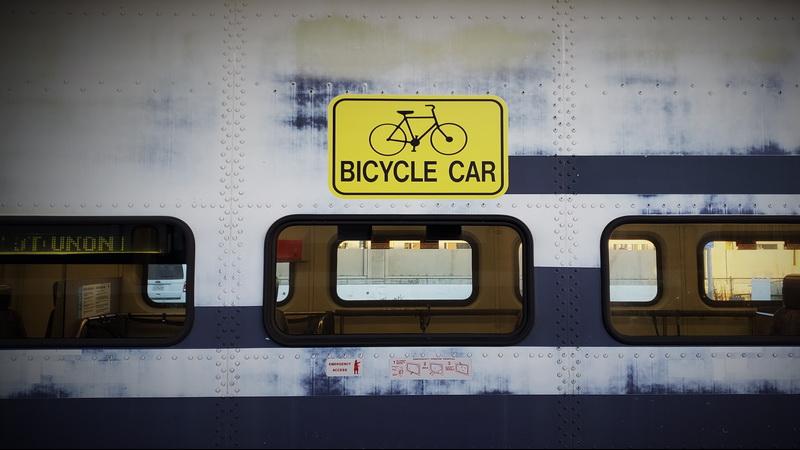 Bicycle car on Metrolink from LA