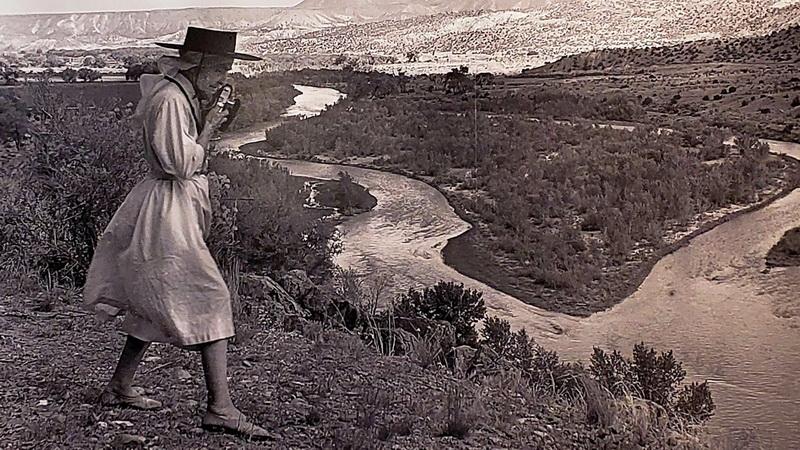 Georgia O'Keeffe, the photographer, near her Abiquiu home